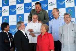 Morales, far left,  said Latin American leaders should express 'solidarity' with Cuba [AFP]