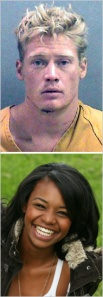 John Needham, discharged from the Army, was charged in the fatal beating of his girlfriend, Jacqwelyn Villagomez. (Top, Orange County Sheriff's Department, via Associated Press; Bottom, Janet Wood)