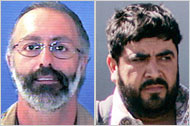 Officials say weapons from George Iknadosian's store in Phoenix ended up in the hands of a cartel that included Alfredo Beltrán Leyva, right.(Left, A.T.F; right, Eduardo Verdugo/AP)